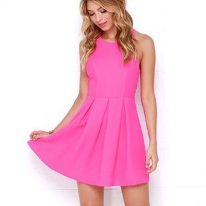 Lulus Hot Pink Neon Open Back Dress